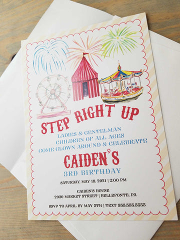Carnival Theme Birthday Party Invitation