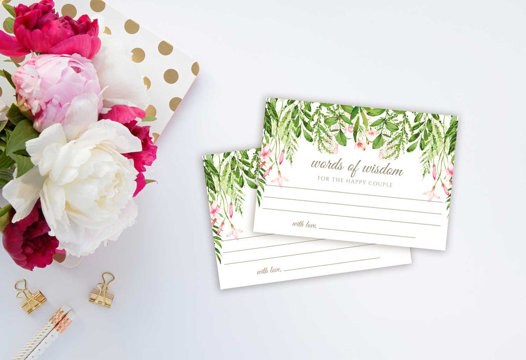 Cascading Greenery Advice or Words of Wisdom Card for Newlyweds, Graduate or Customize