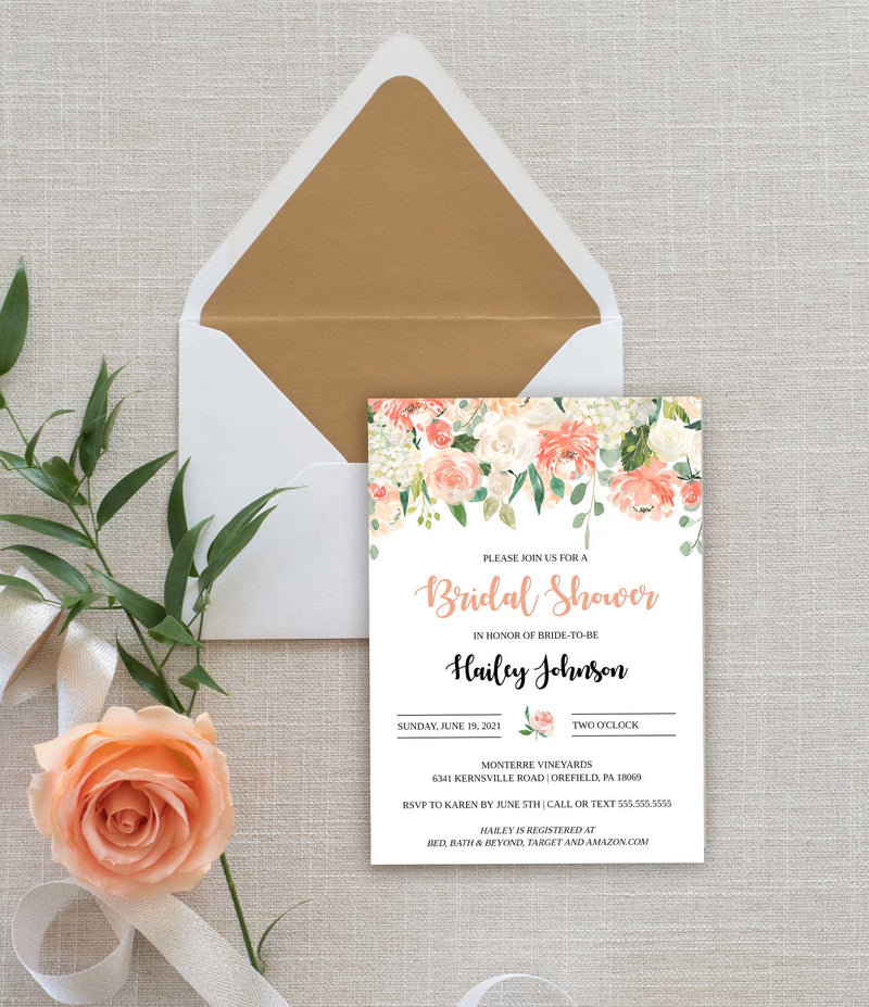 Peach Cascading Floral Bridal Shower Invitation