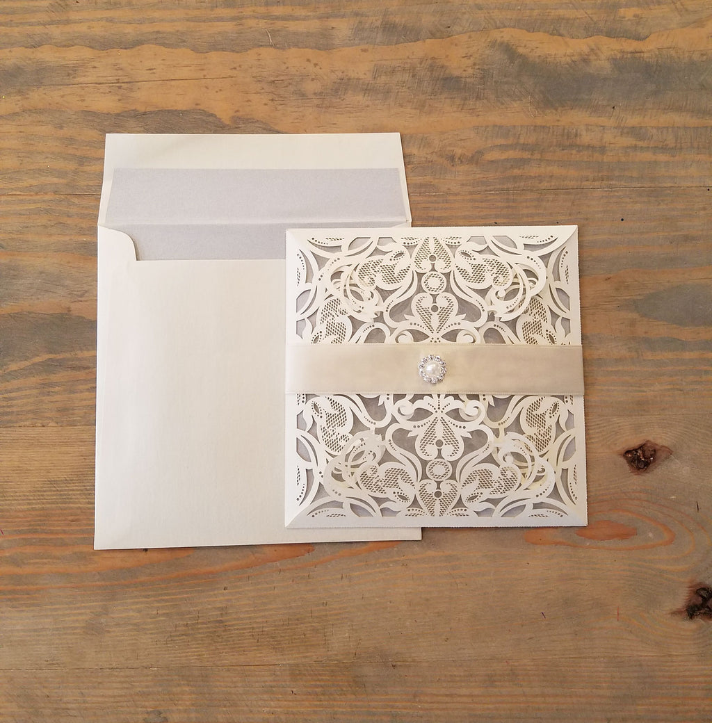 Champagne and Silver Laser Cut Square Wedding Invitation
