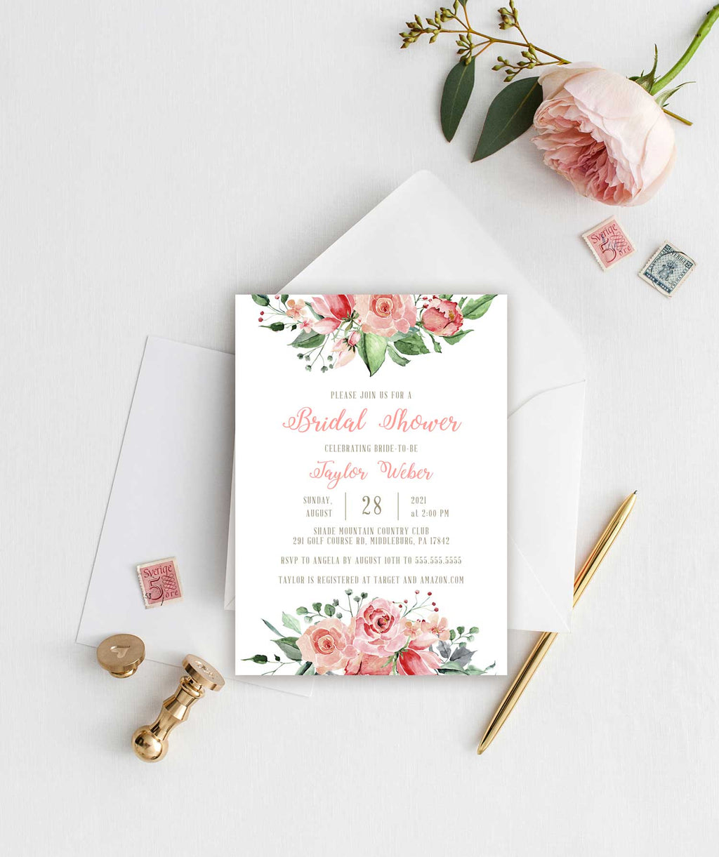 Creamy Blush Bridal Shower Invitation