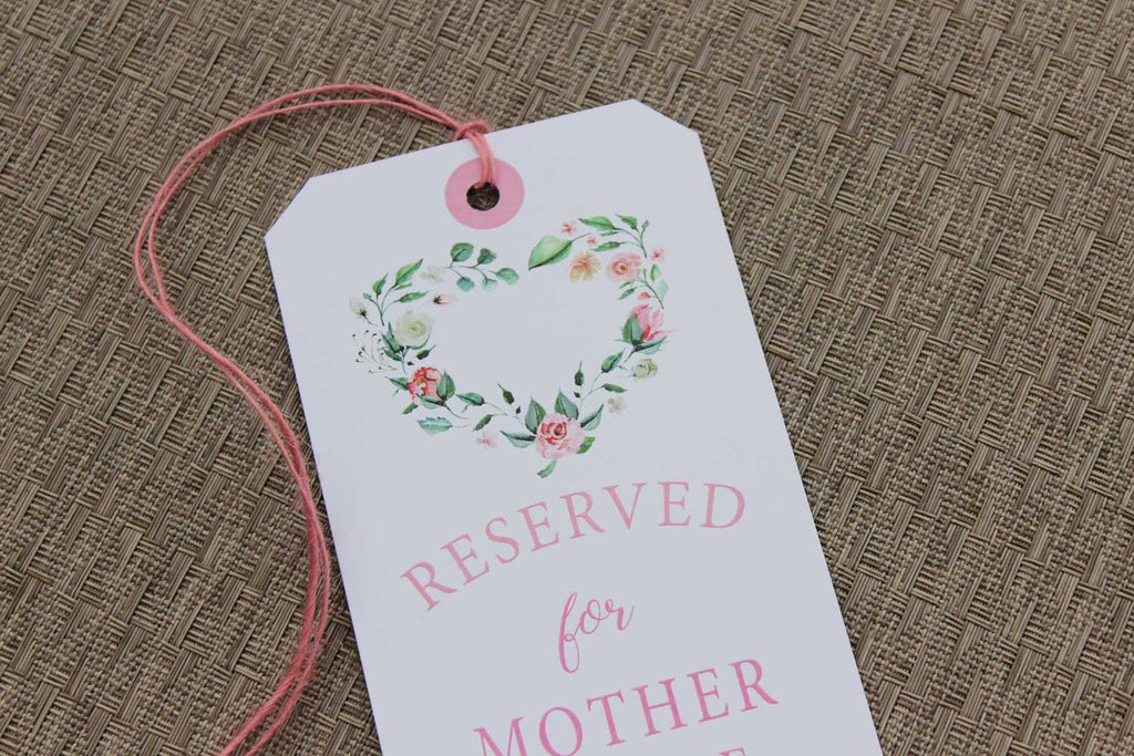 Creamy Blush Floral Heart Wreath Reserved Seating Tags