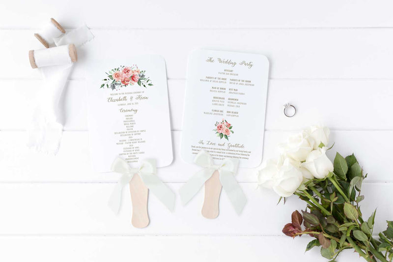 Creamy Blush Wedding Program Fan