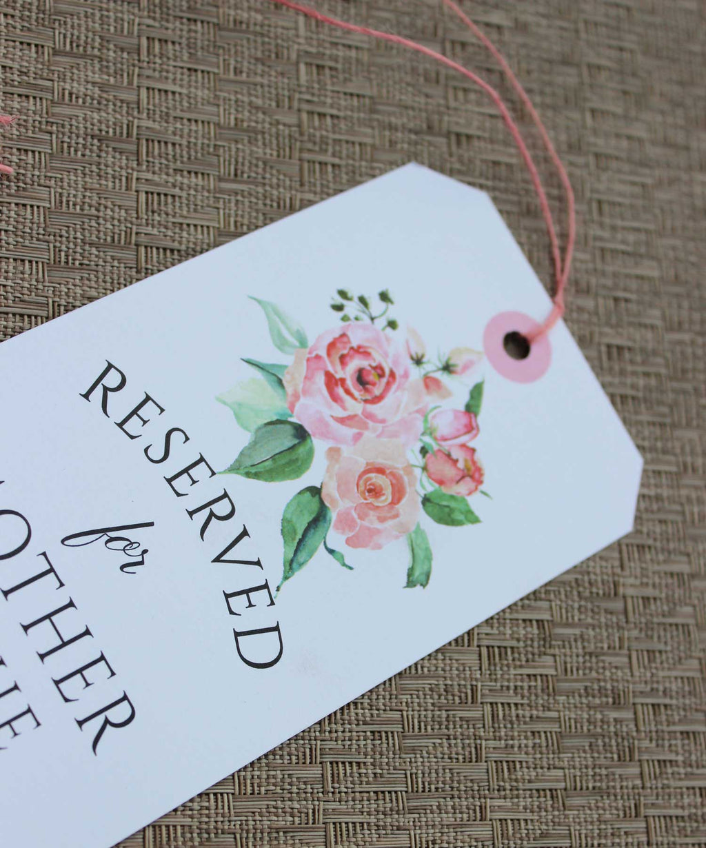 Creamy Blush Floral Reserved Seating Tags