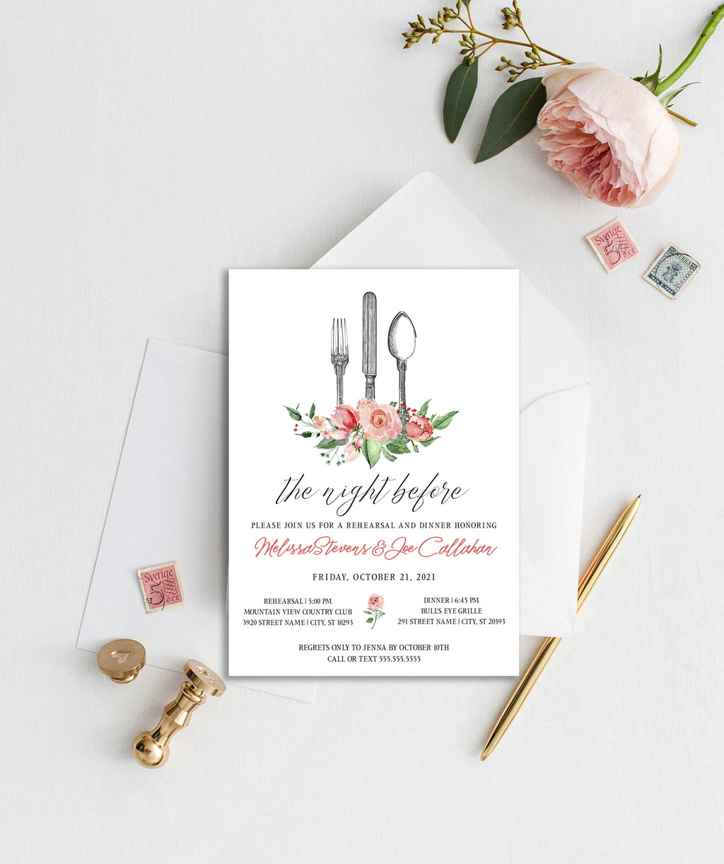 Creamy Pink Floral Antique Silverware Rehearsal Dinner Invitation