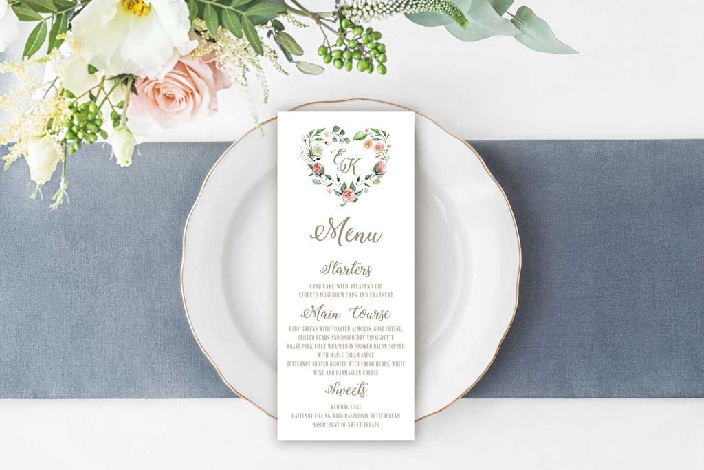 Creamy Blush Heart Wreath Wedding Menu Card