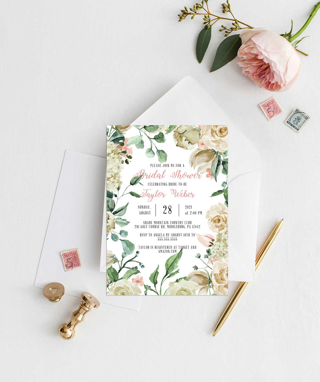 Creamy Border Bridal Shower Invitation