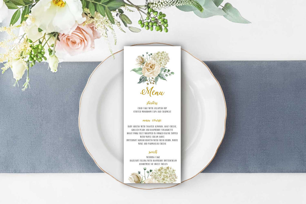 Creamy Ivory Watercolor Bouquet Wedding Menu Card