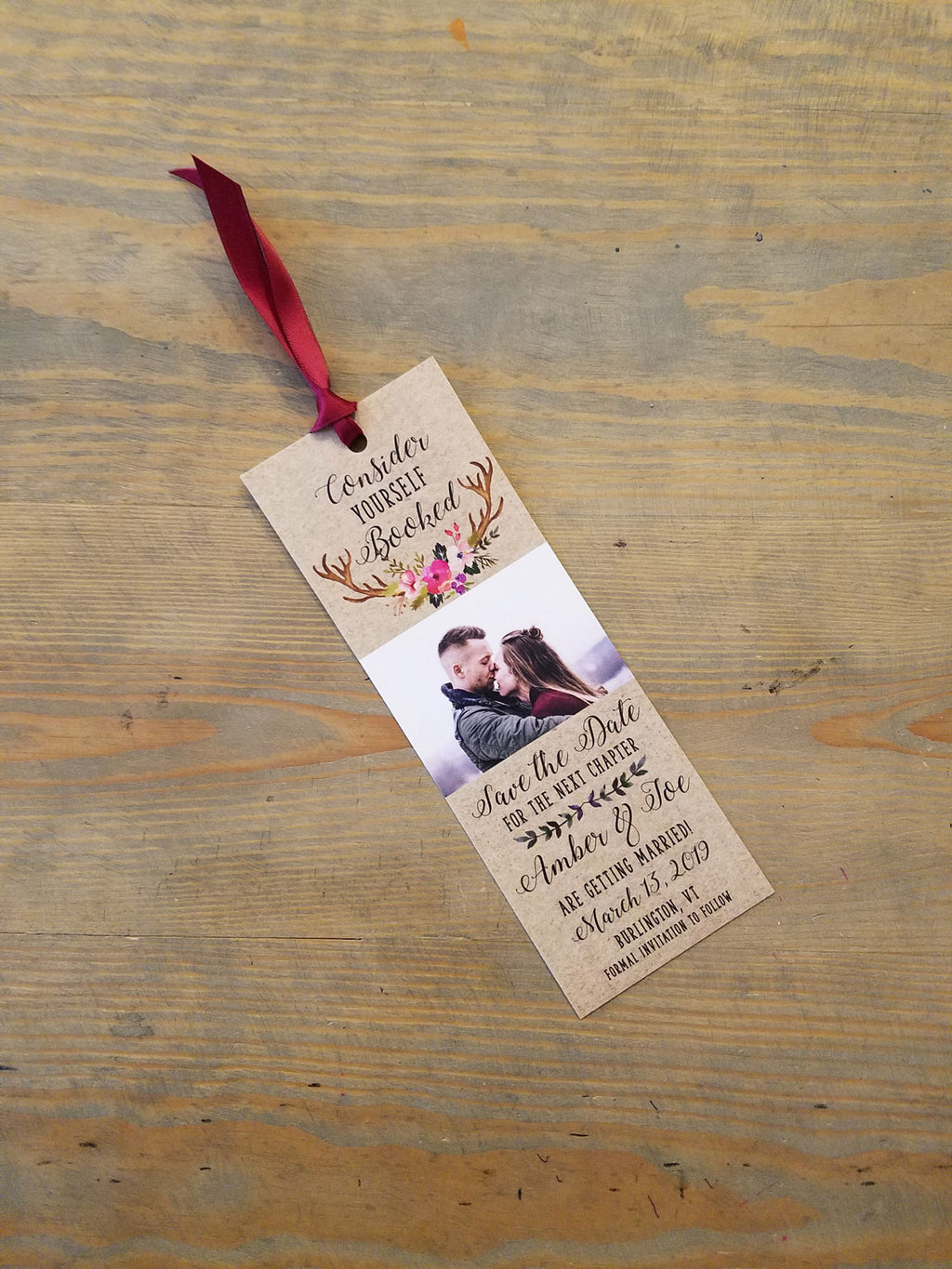 Rustic Deer Antler Bookmark Save the Date