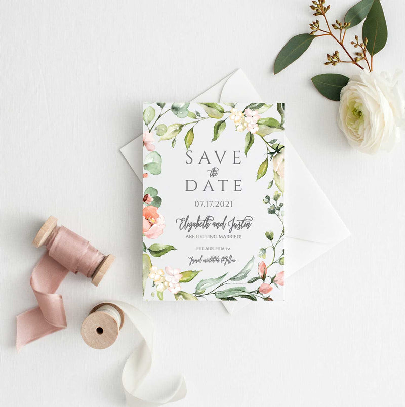 Delicate Floral Border Save the Date Card