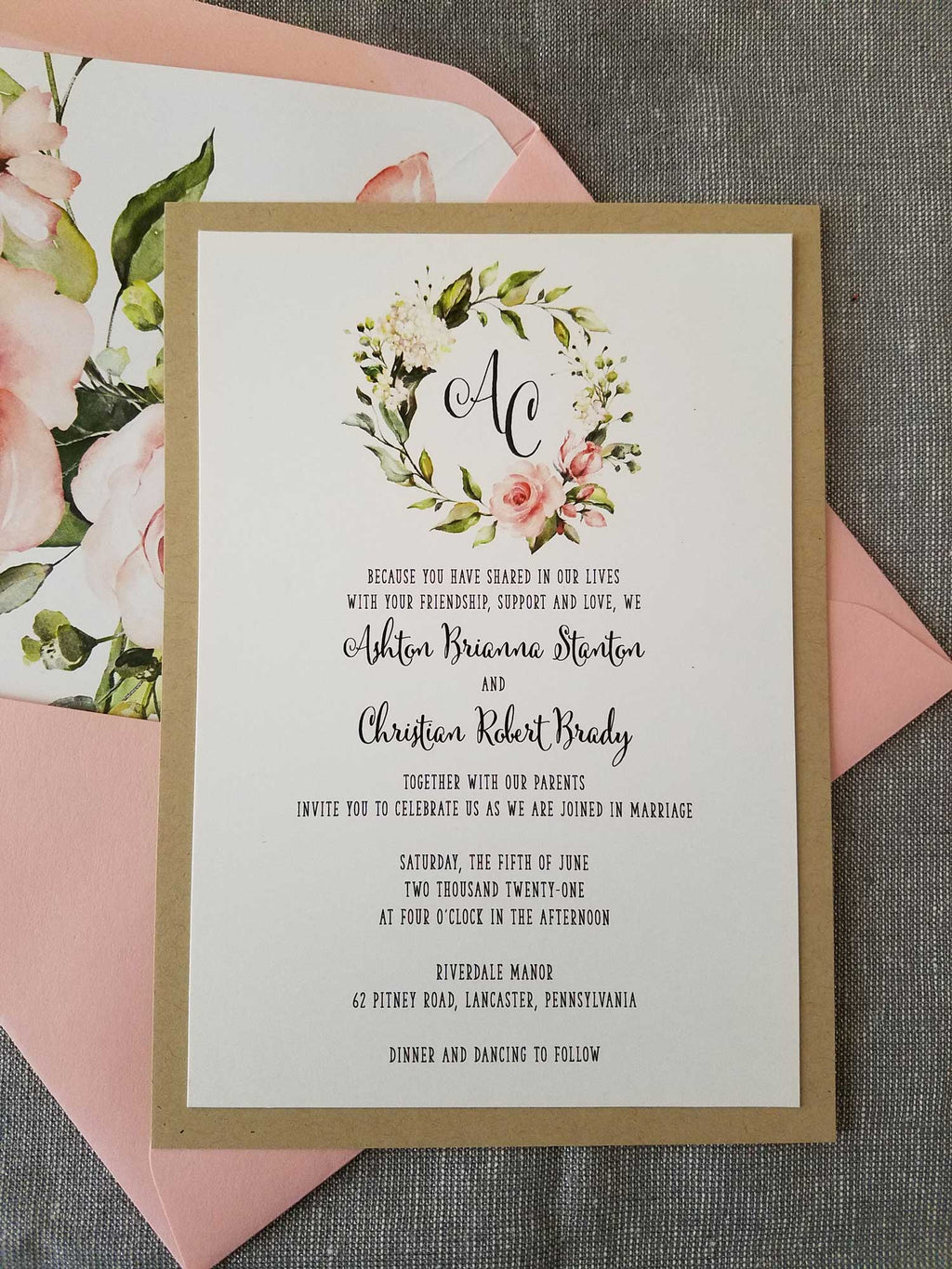 Delicate Garden Blush Flower Wreath Wedding Invitation Suite