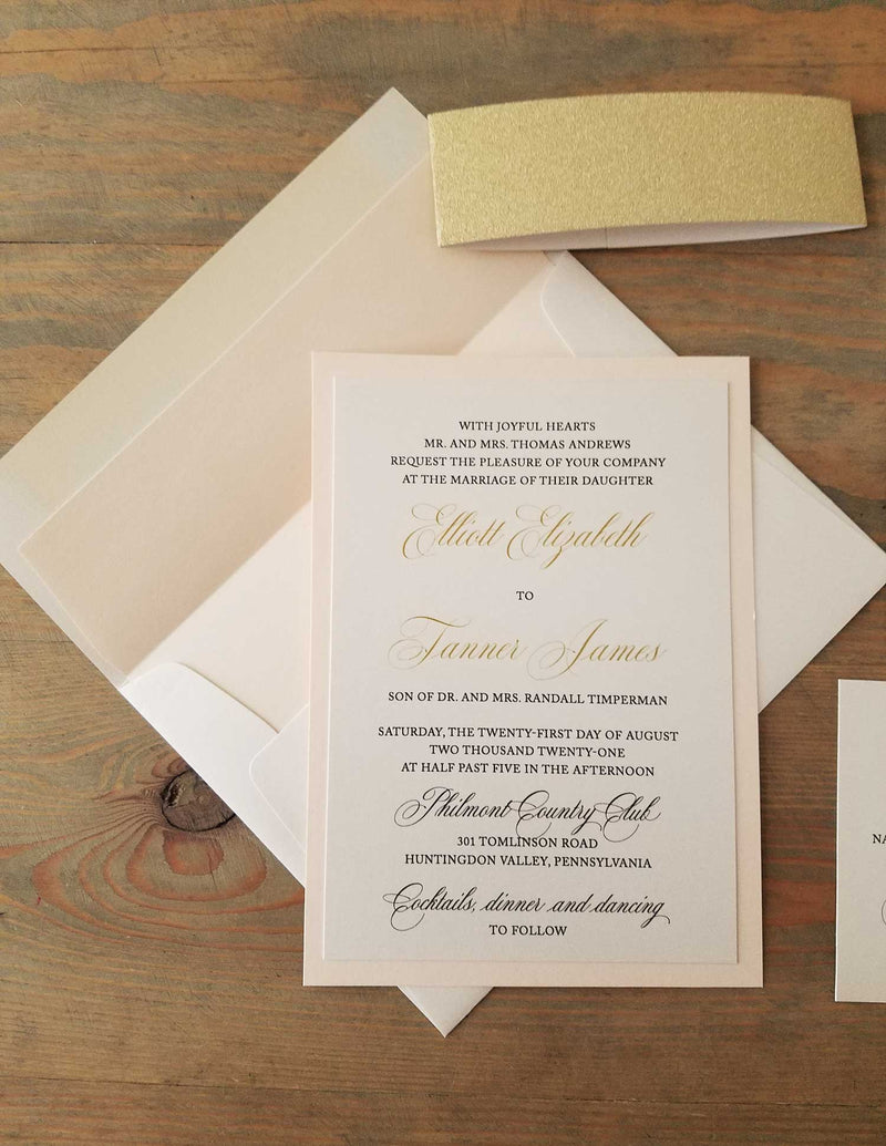 Classic Blush and Gold Wedding Invitation Suite