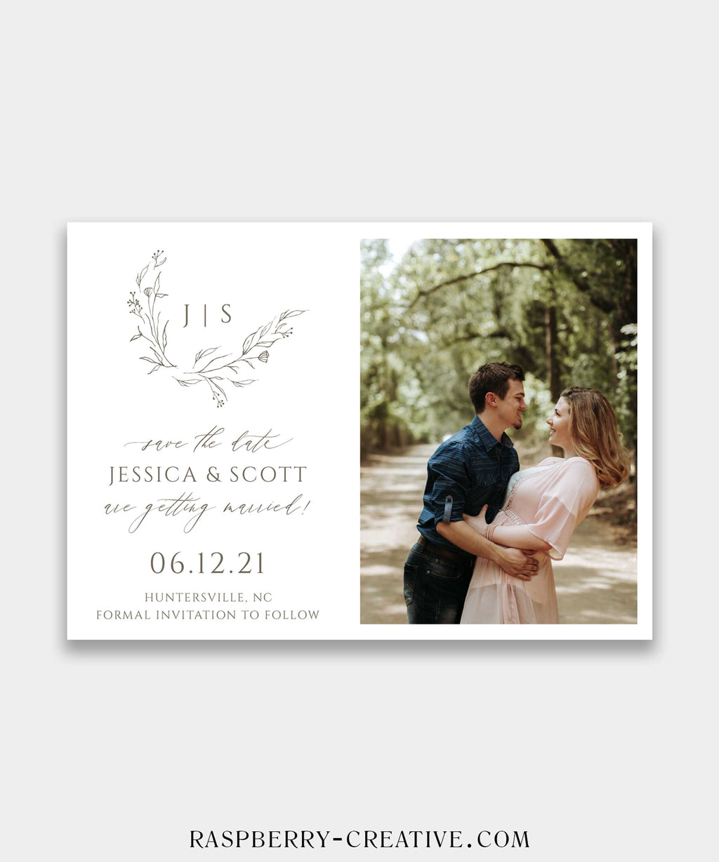 Hand Drawn Wreath Photo Save the Date Card