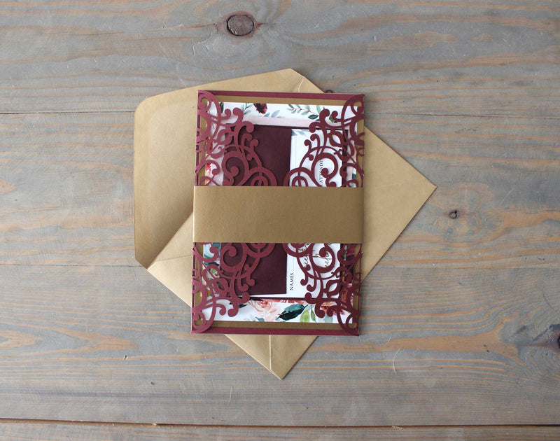 Burgundy and Gold Laser Cut Wedding Invitation Suite - The Dillon