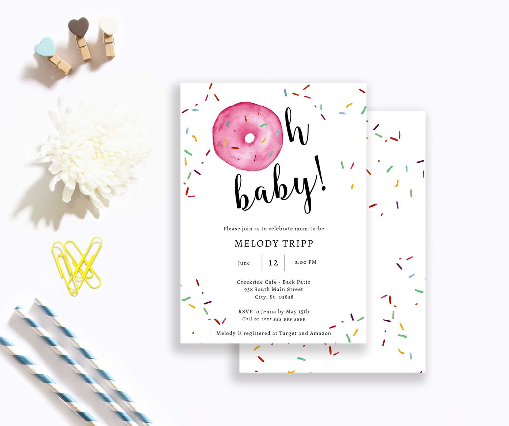 Pink Oh Baby Donut Baby Shower Invitation