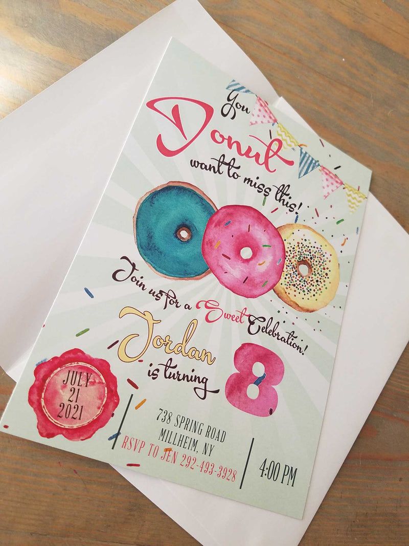 Donut Theme Birthday Party Invitation