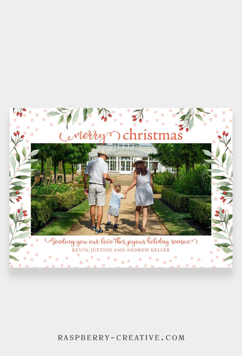 Dotted Holly - Holiday Photo Greeting Card
