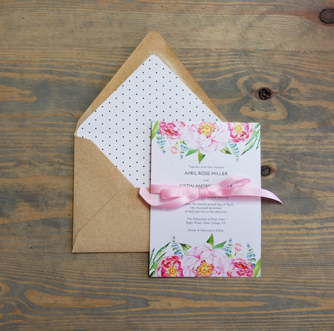 Dotted Peonies Wedding Invitation