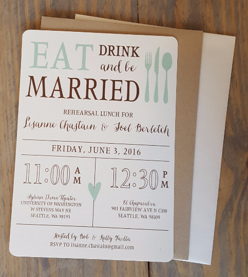 Classic Eat, Drink & Be Married Wedding Rehearsal Dinner Invitation