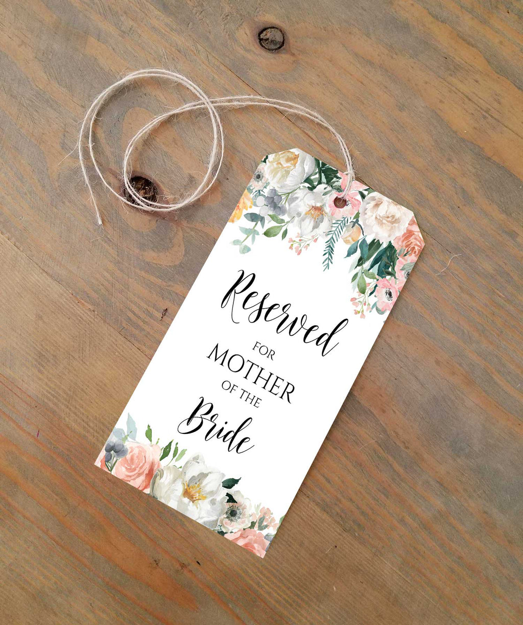 Peachy Blush Reserved Seating Tags
