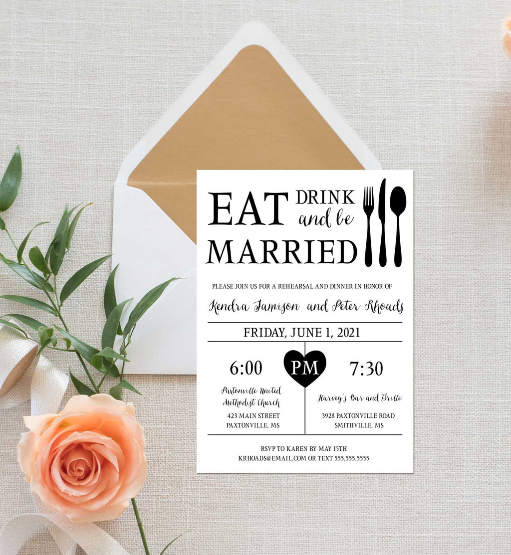 Eat Drink and Be Married Rehearsal Dinner Invitation