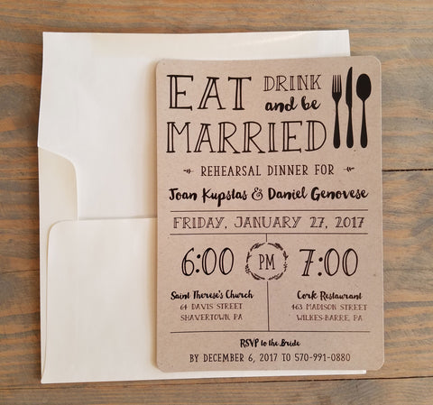 Rustic Eat, Drink and Be Married Rehearsal Invitation