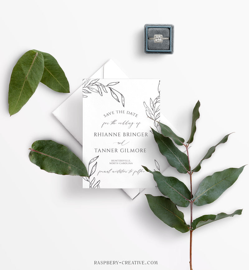Elegant Branch Photo Save the Date Card