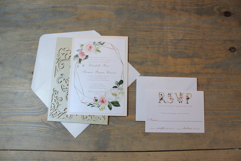 Blush and Gold with Laser Cut Pocket Wedding Invitation Suite