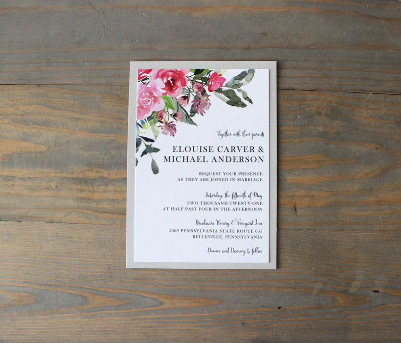 "Colorful Watercolor ""Elouise"" Wedding Invitation Suite"