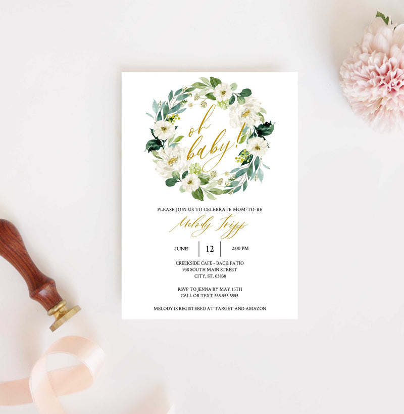 White Roses Greenery Wreath and Gold Baby Shower Invitation
