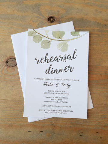 Large Eucalyptus Greenery Rehearsal Invitation