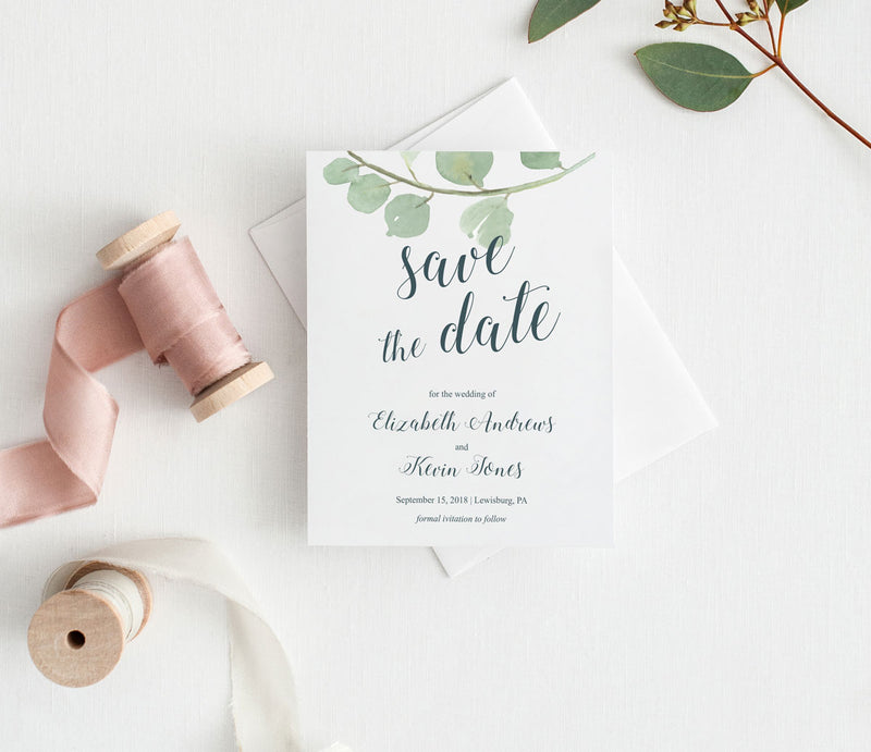 Eucalyptus Greenery Save the Date Card