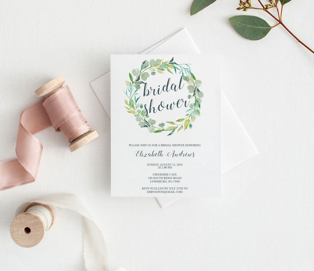 Wreath of Greenery Bridal Shower Invitation