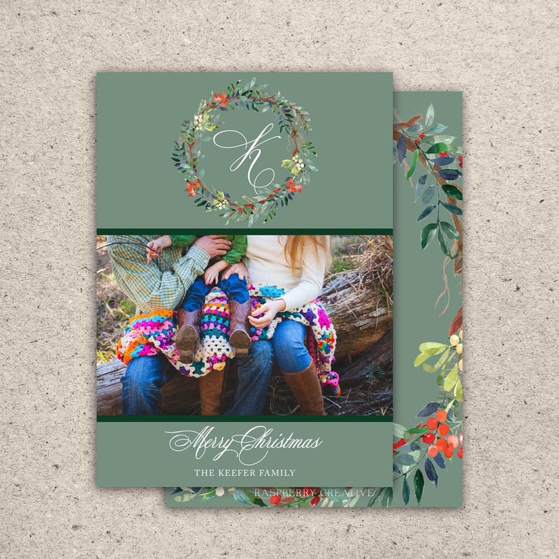 Festive Wreath Holiday Photo Card