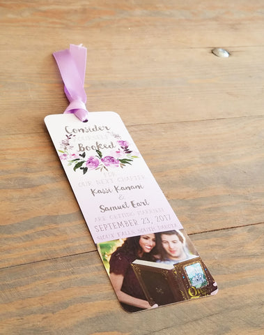 Lavender Floral Wreath Save the Date Bookmark Card and Envelope
