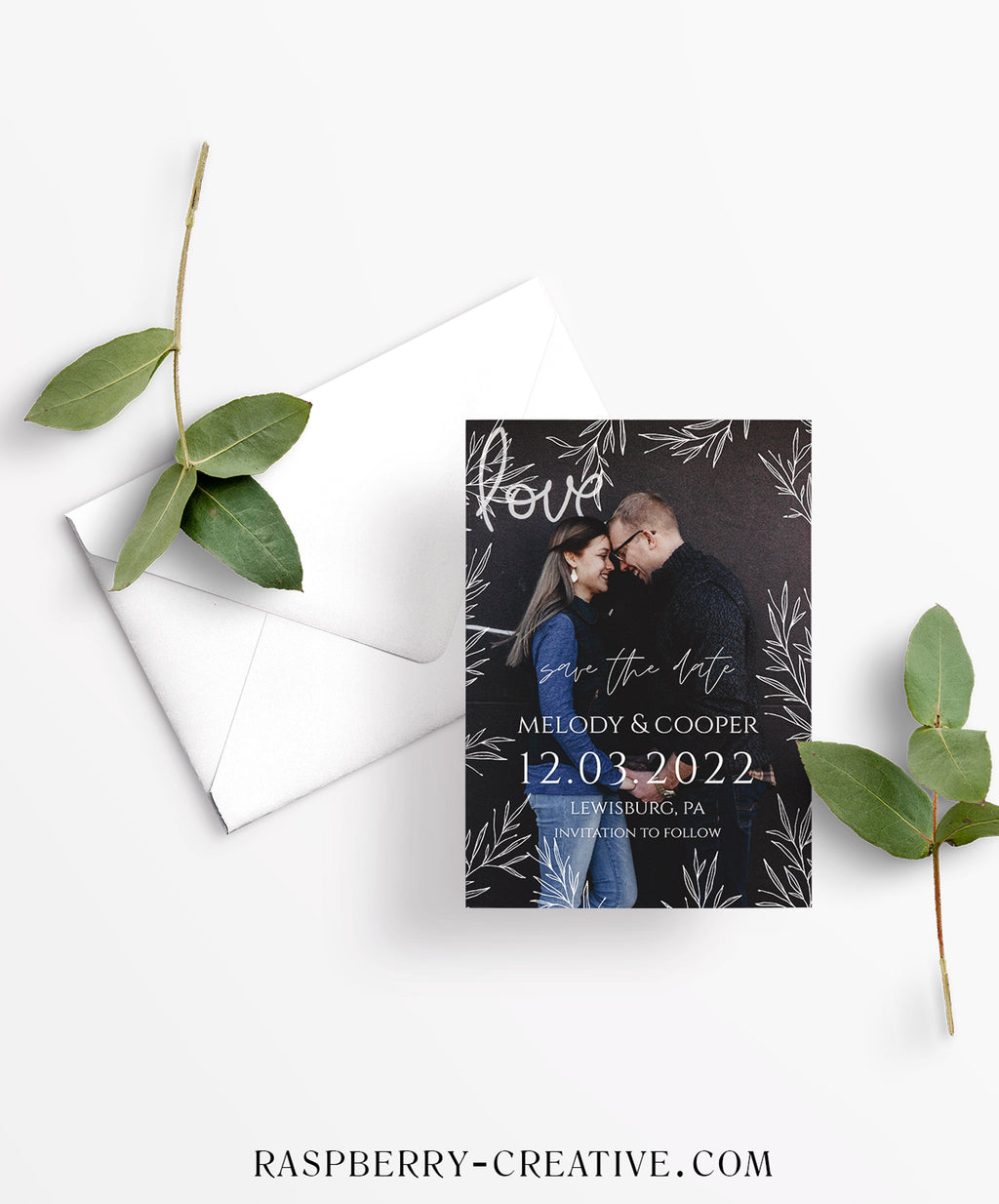 Frame of Branches Photo Save the Date Card