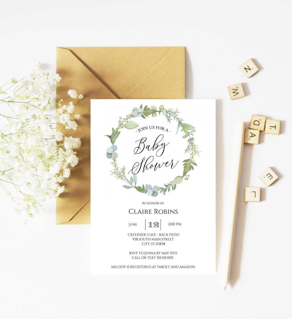 Fresh Greenery Wreath Baby Shower Invitation