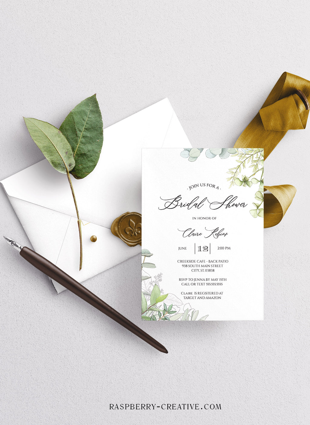 Fresh Greenery Corners Bridal Shower Invitation