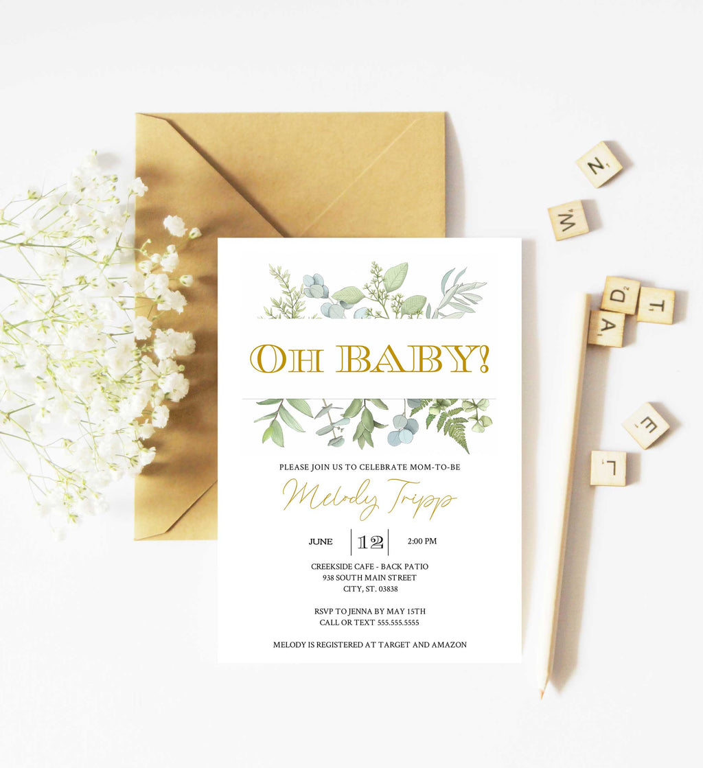 Fresh Greenery Oh Baby Baby Shower Invitation