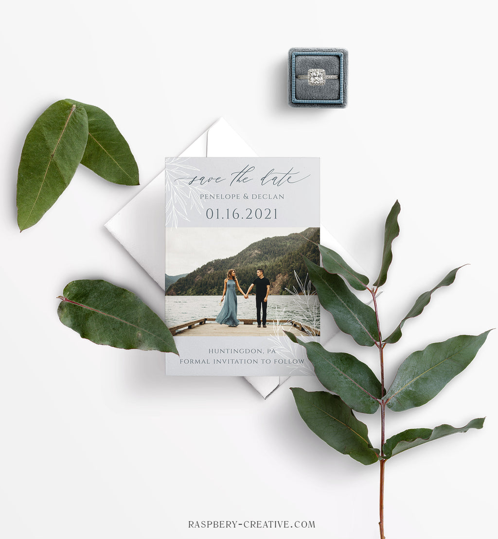Frosted Branches Photo Save the Date Card