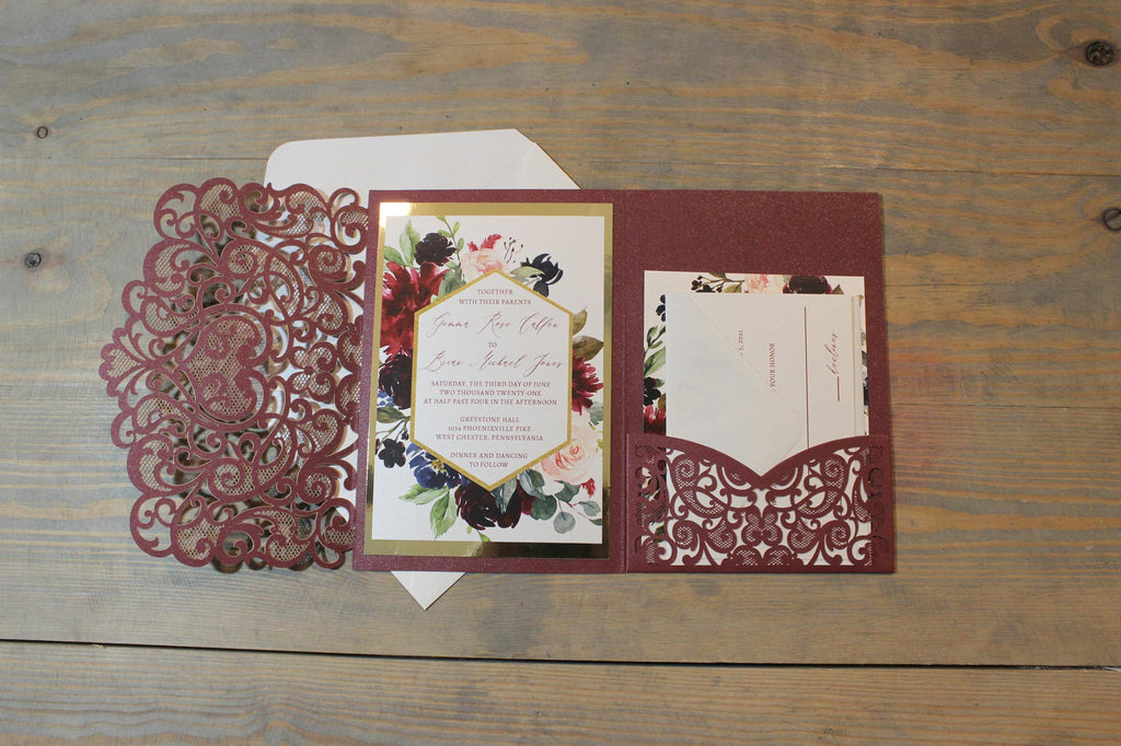 Burgundy Flower Laser Cut Pocketfold Wedding Invitation Suite