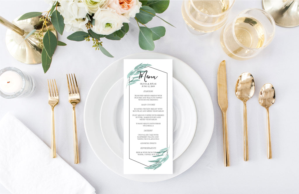 Geometric Greenery Wedding Reception Menu Card