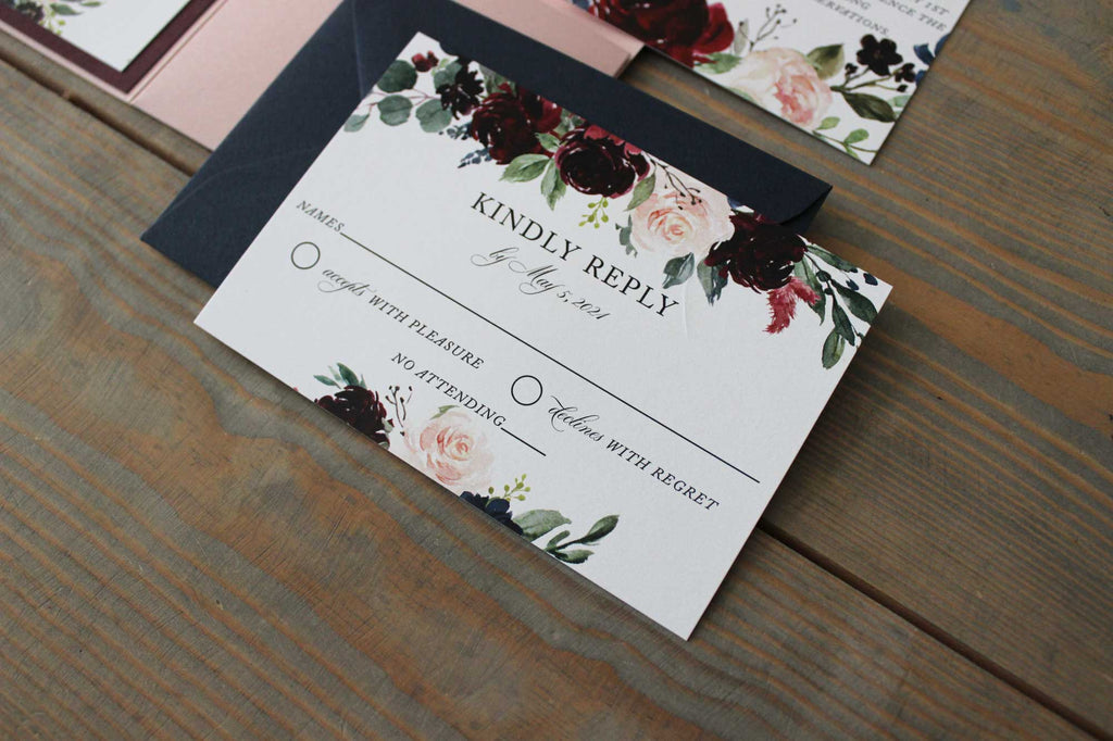 Navy Blue, Burgundy and Dusty Rose Pocket Wedding Invitation - The Georgia
