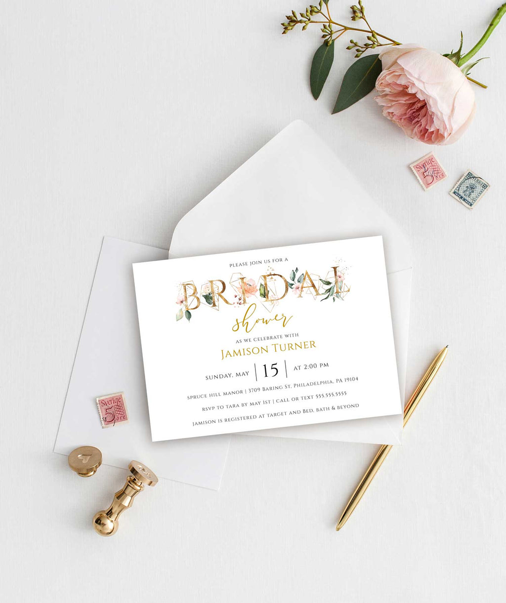 Gold and Floral Bridal Shower Invitation