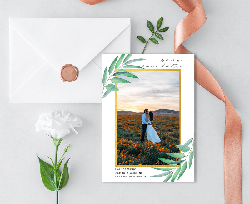 Gold Border Photo Save the Date Card
