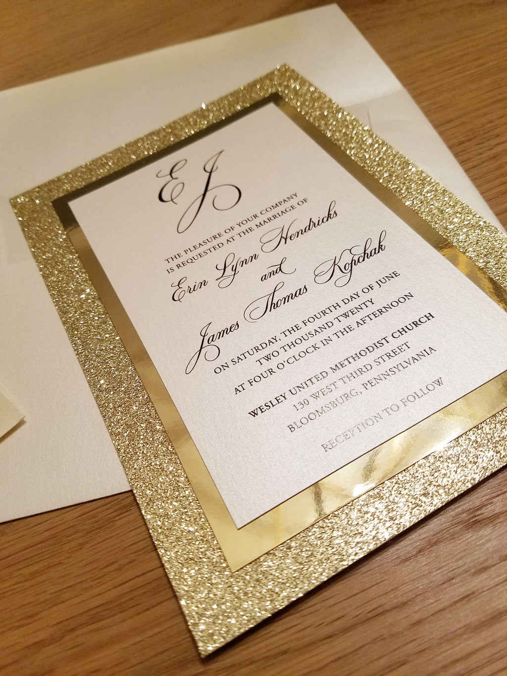 Golden Sparkle Wedding Invitation Suite