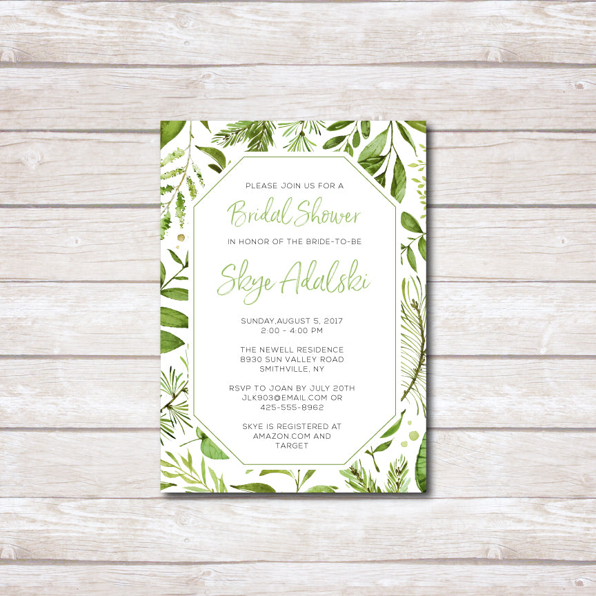 Botanical Bridal Shower Invitation