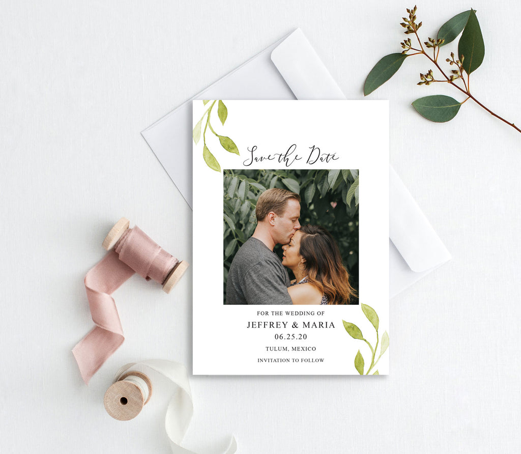 Painted Greenery Photo Save the Date Card