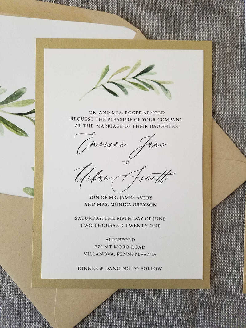 Elegant Greenery Wedding Invitation Suite