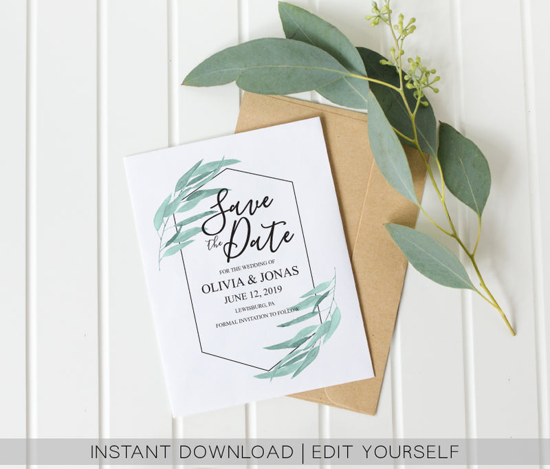 Geometric Greenery Save the Date Card